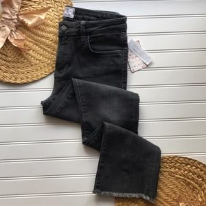 NWT Free People brand straight fit frayed jeans